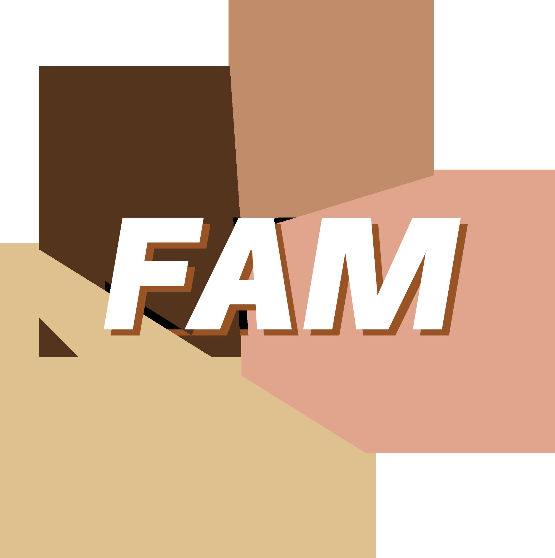 het logo bestaat uit aardekleuren en de tekst FAM